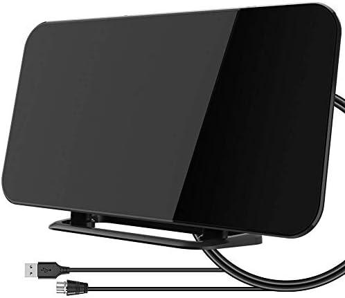 Antena de TV digital para interiores con soporte, rango de 50 a 80 millas, antena de televisión HD amplificada, 4 K 1080P HD/UHF/VHF/FM para todos los tipos de TV inteligente con sintonizador