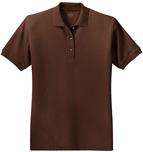 Joe's USA(tm) Ladies Short Sleeve Polo Shirt-Coffee Bean-2XL