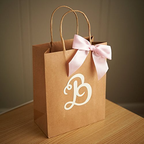 Amazon.com: Gift Bags for Wedding Guests Set of 5. Large Kraft ...