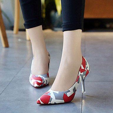 Talones de las mujeres del resorte de la PU Comfort exterior del talón de estilete Negro Rojo Violeta Azul Walking Red