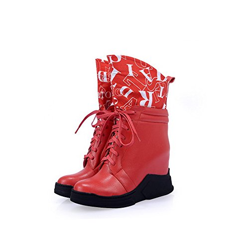 AmoonyFashion Womens Round-Toe Closed-Toe High-Heels Boots With Rubber Soles and Heighten Inside Red dwrAbd