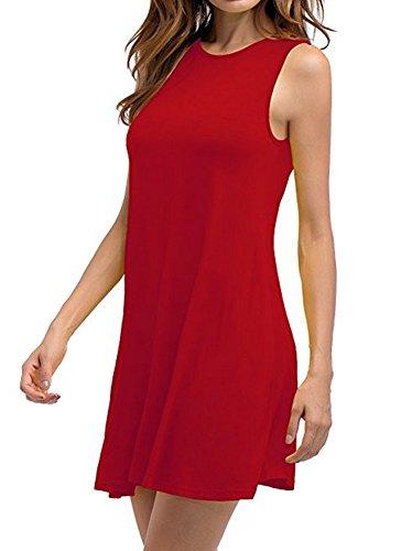 Noche Mujer con Loose Talla Bolsillos de Vestido Sin Vestido Camiseta Fiesta Rojo mangas Casual O de Cuello de Grande Rr1qzTRw