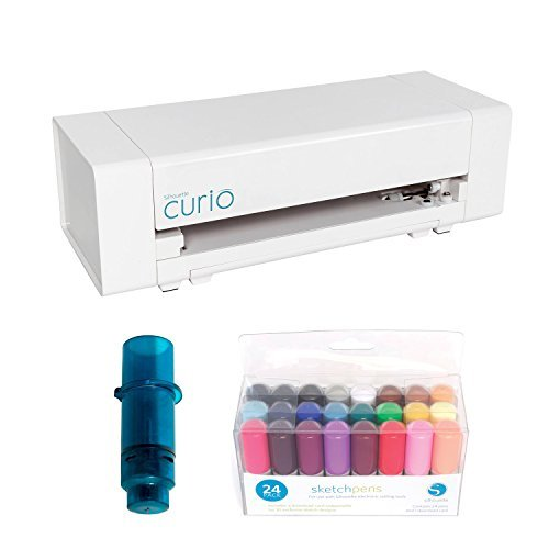 Silhouette Curio Cutting Tool (3T version) with Silhouette Stippling & Etching Tool for Curio & 24-Pack of Sketch Pens