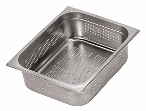 Paderno World Cuisine 12 1/2 inches by 10 1/2 inches Stainless-steel Perforated Hotel Pan - 1/2 (depth: 7 7/8 inches) Stainless Steel Gastronorm Pan