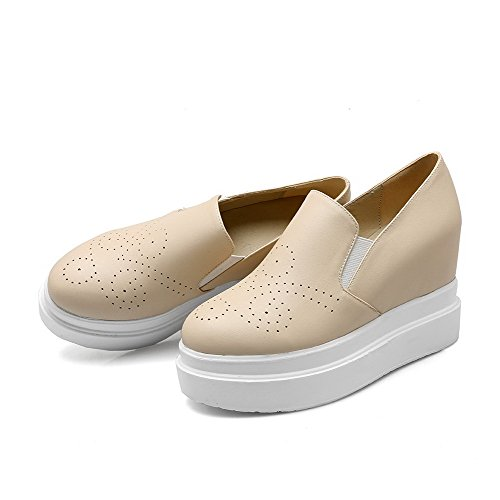 Amoonyfashion Pull-on Dames Pu Ronde Pumps Met Gesloten Hak Stevige Pumps-schoenen Beige