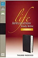 NIV, Life Application Study Bible, Second Edition, Large Print, Bonded Leather, Black, Red Letter Edition, Thumb Indexed Bonded Leather