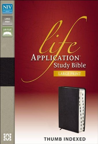 NIV, Life Application Study Bible, Second Edition, Large Print, Bonded Leather, Black, Indexed, Red Letter Edition