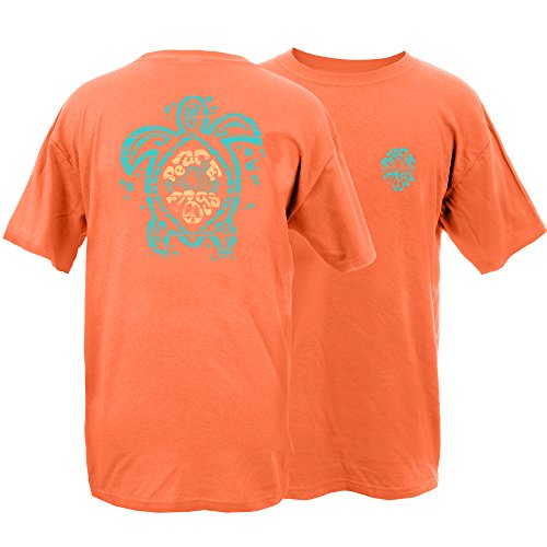 Peace Frogs Sea Turtle Frog Garment Dye Short Sleeve T-Shirt (Melon, Large)