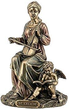 (6.25 Inch Saint Cecilia Cold Cast Decorative Figurine, Bronze Color )