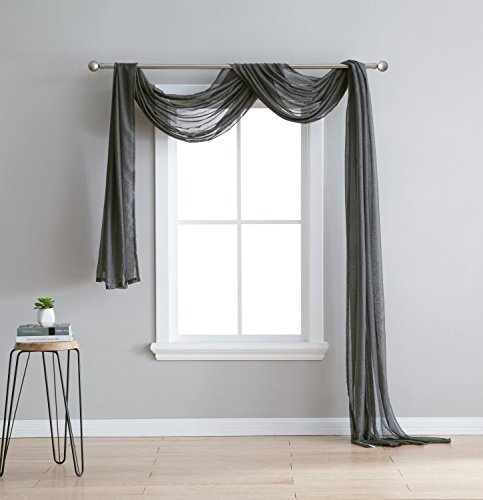 "LinenZone Karina - Semi-Sheer Window Scarf (54 x 216) - Elegant Home Decor Window Treatments - Add to Window Curtains for Enhanced Effect (1 Scarf 54"" x 216"", Charcoal)"