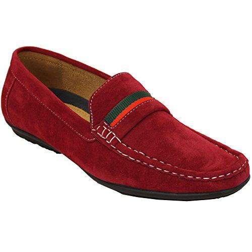 Herren Mokassins Veloursleder Look Schuhe fahren Slipper ohne Bügel Boot Schleife Italian NEU rot - ccc009
