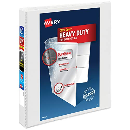 "Avery 1"" Heavy Duty View 3 Ring Binder, One Touch EZD Ring, Holds 8.5"" x 11"" Paper, 1 White Binder (79199)"