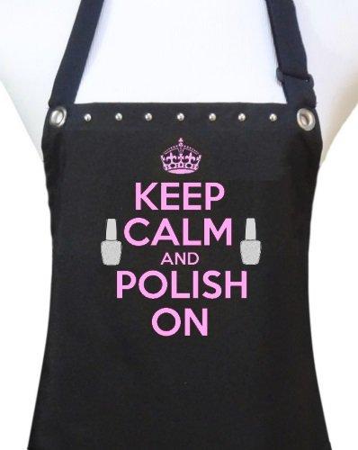 Trendy Salon Aprons Polyurethane Waterproof Nail Tech Manicurist Apron, Keep Calm Polish On (Pink)