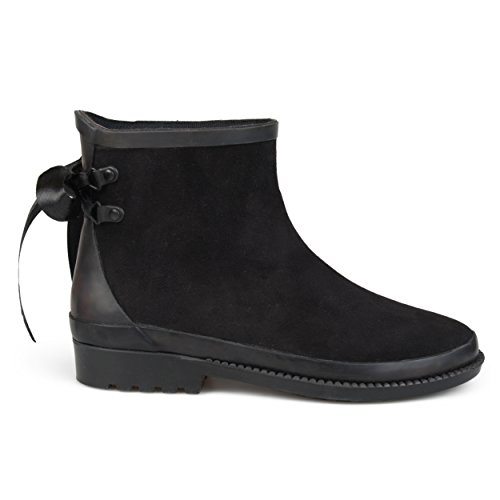 Brinley Co. Womens Botan Faux Suede Bow Ankle Rainboots Black, 10 Regular US - Bow Ankle Boot