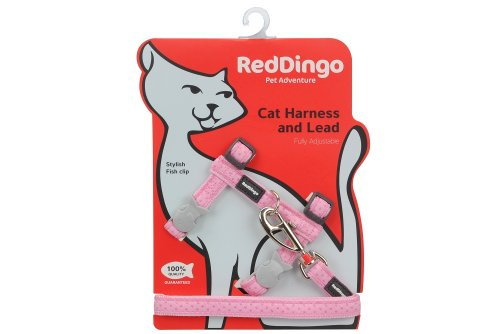 (Red Dingo Designer Cat Harness and Lead Combo, Love Sprinkles Pink)