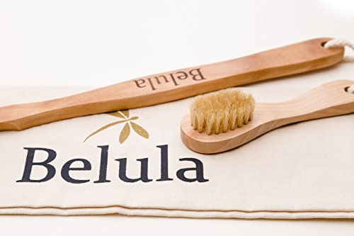 Premium Dry Brushing Body Brush Set- Natural Boar Bristle Body Brush, Exfoliating Face Brush & One Pair Bath & Shower Gloves. Free Bag & How To – Great Gift For A Glowing Skin & Healthy Body by Belula (Image #7)