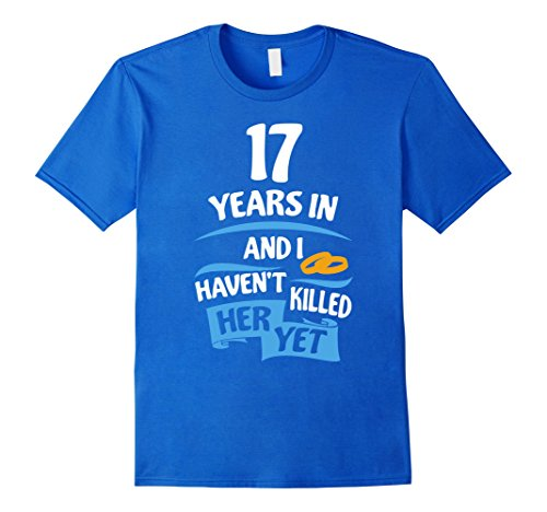 Mens 17th Wedding Anniversary Gift for Husband 17 Years Shirt Small Royal Blue