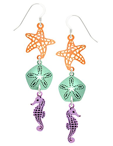 Sienna Sky Starfish Sand Dollar Seahorse 3 Part Dangle Earrings with Gift Box Made in USA - Link Multi Colored Earrings