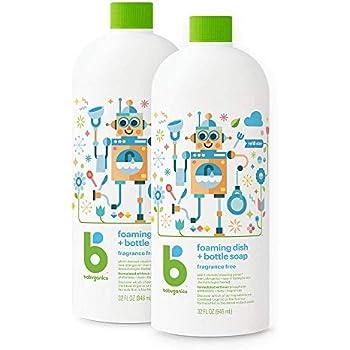 Babyganics Foaming Dish Soap , Fragrance Free, 32oz, 2 Pack, Packaging May Vary