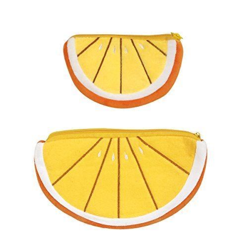 ALLYDREW Plush Fruit Pencil Pouch (Set of 2), Orange Coin Purse Pouches