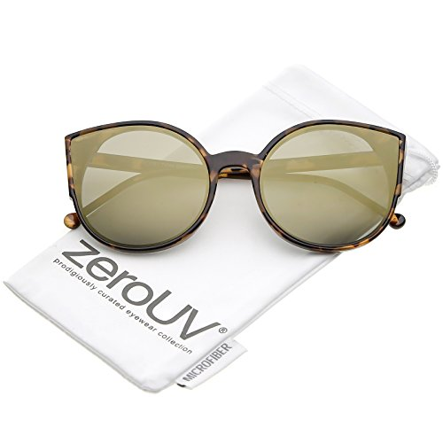 zeroUV - Women's Slim Arms Round Colored Mirror Flat Lens Cat Eye Sunglasses 56mm (Tortoise / Gold - Eye For Round Eyes Cat