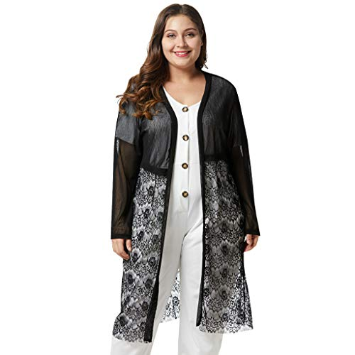 LISTHA Plus Size Lace Cardigan for Women Long Loose Shawl Kimono Top Cover up ()