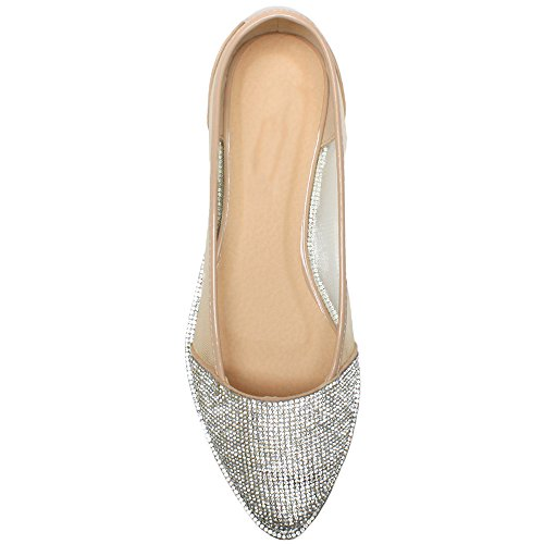 Damen Flach Spitz Strass Rand Gittergewebe Abend Ballerina Schuhe Pumps Größe Natur Netz