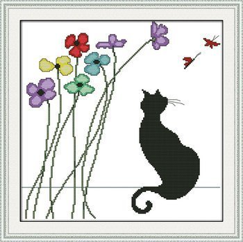 Joy Sunday Cross Stitch kits, Black cat and flowers,14CT Counted, 36cm×36cm or 14.04