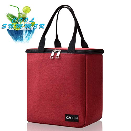 Lunch Bags for Women, Cooler Bag, Reusable Insulated Lunch Tote Bag, Great Birthday Gifts for Women OZCHIN (Berry Red) ()