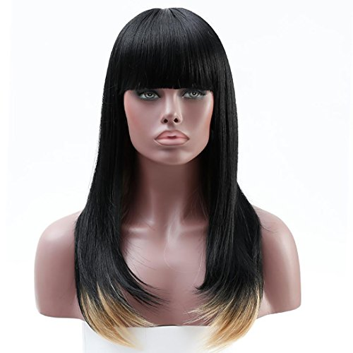 Search : DIFEI Long Black Straight Wig Black Women Wigs for African American Heat Resistant Synthetic Wigs With Bangs (1BT27)