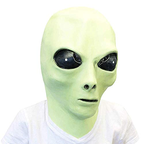 Alien Latex Mask, UFO Extra Terrestrial ET Head Costume Mask Glow in The Dark, Adult Roswell Alien Mask Cosplay Props Green