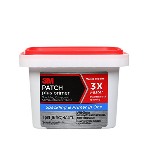 (3M PPP-16-BB Patch Plus Primer Lightweight Spackling, 16 fl. oz 1 tub, Gray, 16 Ounce)