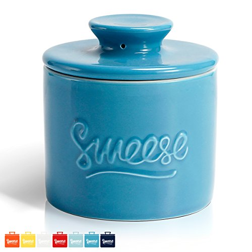 Sweese 3108 Porcelain Butter Keeper Crock - French Butter Dish - No More Hard Butter - Perfect Spreadable Consistency, Steel Blue