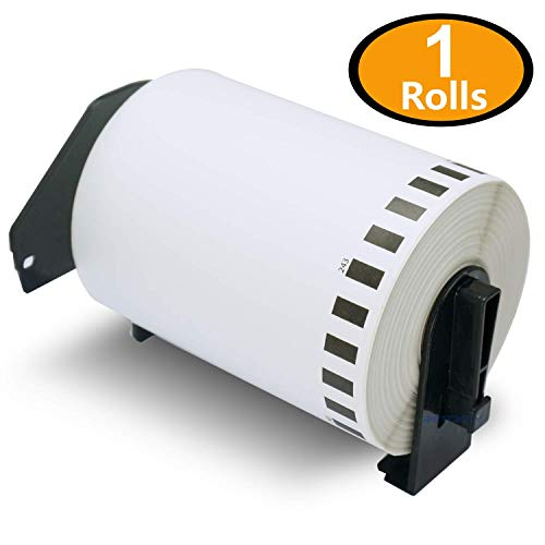 BETCKEY - 1 Rolls Compatible Brother DK-2243 102mm x 30.43m(4 x 100) Continuous Length Shipping Label With Refillable Cartridge