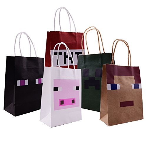 Pixel Miner Gaming Paper Bags 15 Pack For Happy Birthday Party Favor (Minecraft Party Bags)