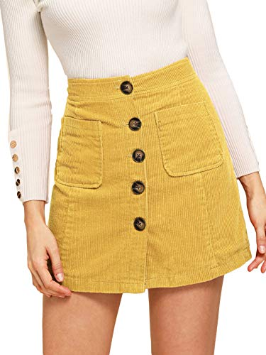 (WDIRARA Women's Casual Button Front Mid Waist Above Knee Short Corduroy Skirt Yellow XL )