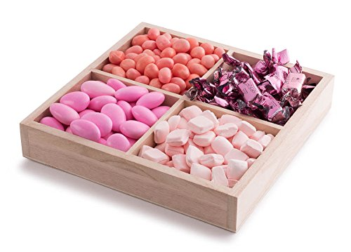 The Chocolate Bar - Baby Girl Classic Wooden Gift Tray 4 Sectional Pink Candy Basket