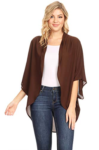 (Solid Casual Lightweight 3/4 Sleeve Loose Fit Open Front Cardigan/Made in USA Brown 3XL )