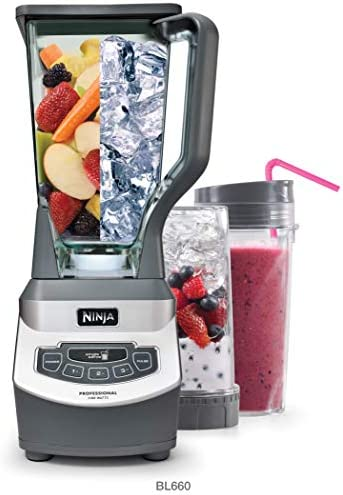 Ninja Professional Countertop Blender with 1100-Watt Base, 72 Oz Total Crushing Pitcher and (2) 16 Oz Cups for Frozen Drinks and Smoothies (BL660), Gray 41h1vDgs8CL