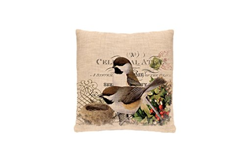 Heritage Lace Winter Garden Chickadees Woven Pillow, 18 by 18-Inch, Natural