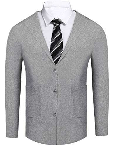 (Daupanzees Men's Stretch Solid Knitted Sweaters Slim Fit High-Neck Long Sleeve Casual Sweater Cardigan (Gray XL))