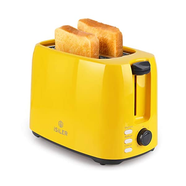 iSiLER 2 Slice Toaster, 1.3 Inches Wide Slot Toaster with 7 Shade Settings and Double Side Baking, Compact Bread Toaster… 1