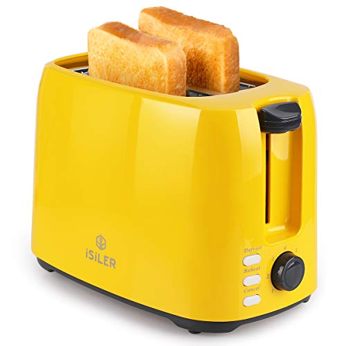 iSiLER 2 Slice Toaster, 1.3 Inches Wide Slot Toaster with 7 Shade Settings and Double Side Baking, Compact Bread Toaster…