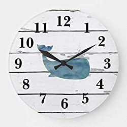 Moonluna Nautical Blue Whale Shiplap Rustic Decor Nursery Wall Clock for Kids Wooden Wall Art Decoration Silent Non Ticking Christmas Clock Gifts 14 Inches