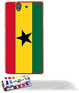 """Carcasa Flexible Ultra-Slim SONY YUGA de exclusivo motivo [Ghana Bandera] [Roja] de MUZZANO  + 3 Pelliculas de Pantalla """"UltraClear"""" + ESTILETE y PAÑO MUZZANO REGALADOS - La Protección Antigolpes ULTIMA, ELEGANTE Y DURADERA para su SONY YUGA"""