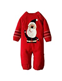 AIKSSOO Infant Baby Christmas Outfit Santa Costume Sweater Knit Romper Jumper