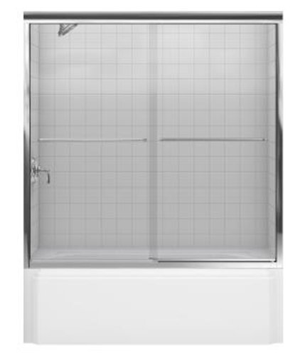 Kohler R702200-L-SHP Fluence Frameless Bypass Shower Door with Crystal Glass, Bright Polished Silver