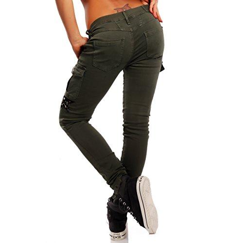 Damen Cargohose in Slim-fit-Variante Skinny Jeans Khaki