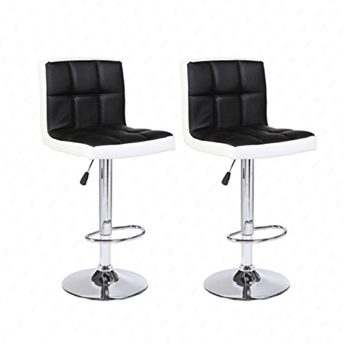 New Set of 2 Bar Stools Leather Adjustable Swivel Pub Chair In Black and White by Pananna Home (Image #1)