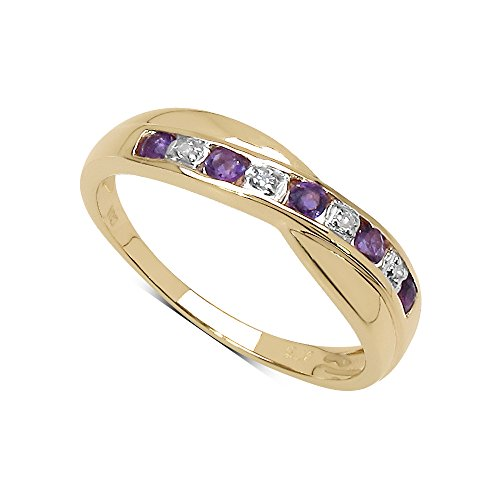 The Diamond Ring Collection: 9ct Gold Amethyst & Diamond Channel Set...